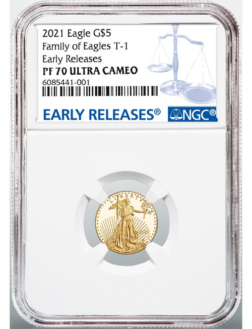 2021-W 4 Coin Set Proof Gold Eagles T-1 ER NGC PF70 Ultra Cameo