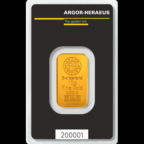 10 Gram Gold Bar Argor-Heraeus New w/Assay