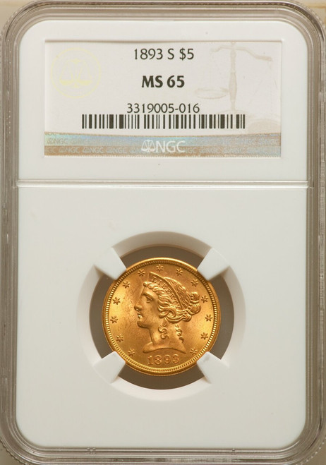 1893-S $5 Five Dollar Liberty Half Eagle NGC MS65