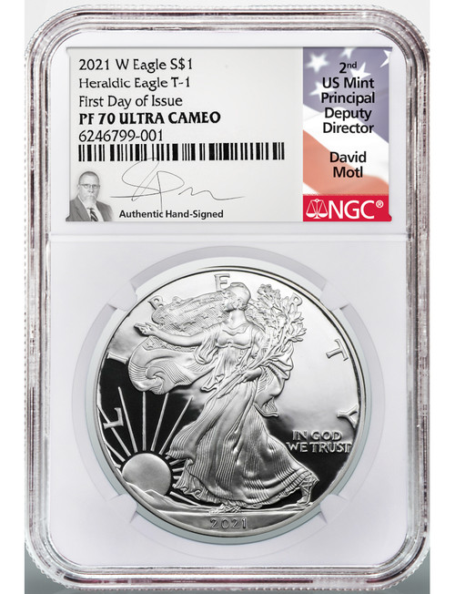 2021-W Type 1 Silver Eagle FDOI NGC PF70 David Motl Signed