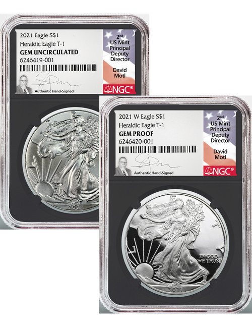 2021-W Type 1 Silver Eagles 2 Coin set GEM & GEM PROOF BC NGC David Motl Signed