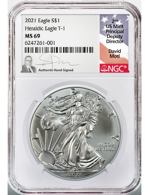 2021 Type 1 American Silver Eagle NGC MS69 David Motl Signed