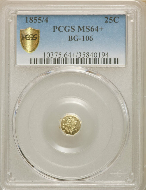 1855/4 Liberty Octagonal 25 Cents BG-106 R.3 California Fractional Gold PCGS MS64+