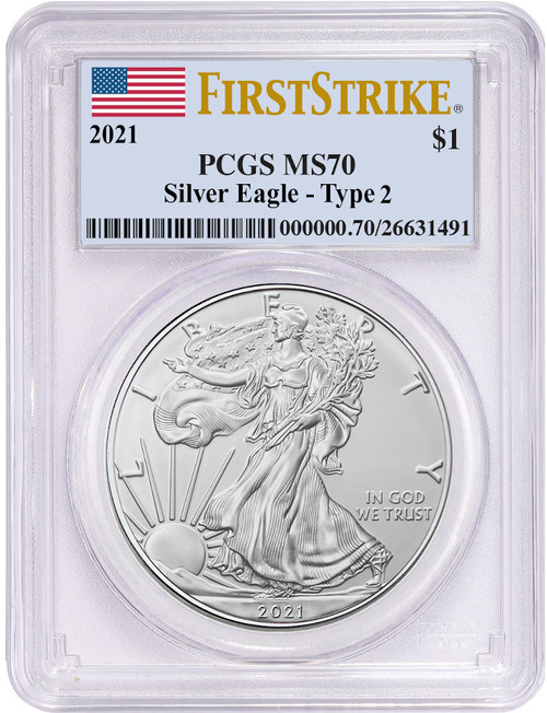 2021 Type 2 American Silver Eagle First Strike PCGS MS70 Flag Label