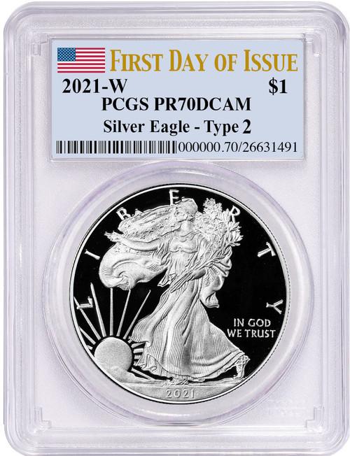 2021 Type 2 American Silver Eagle FDI PCGS PR70 Flag Label