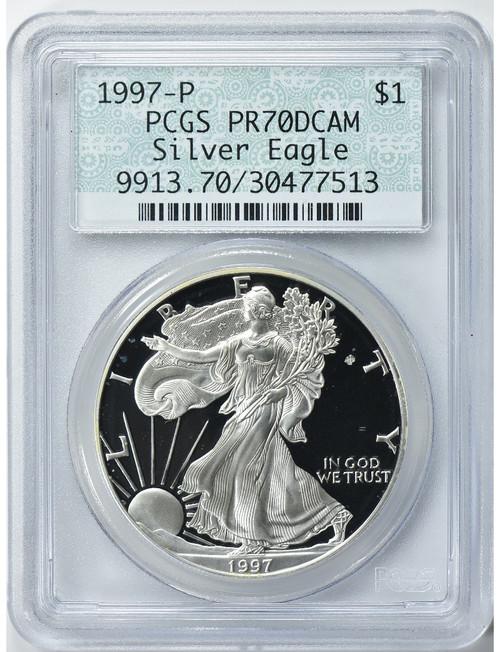 1997-P $1 Silver Eagle PCGS Proof-70 DCAM (Green Doily Retro Label)