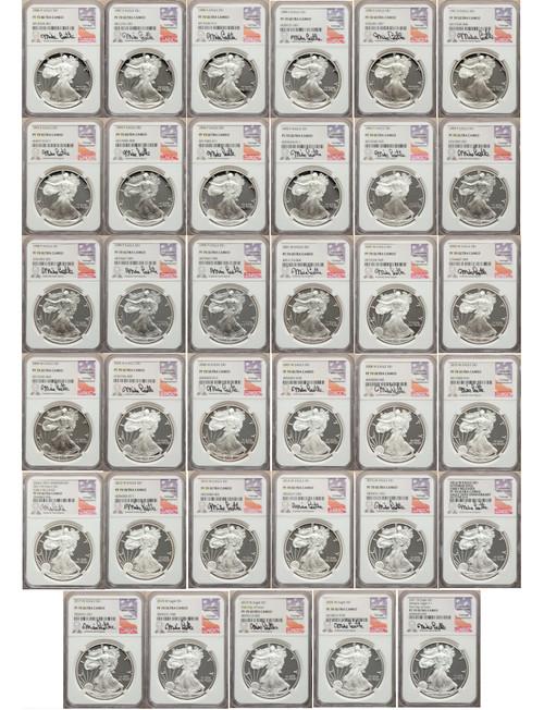 1986-2021 $1 Silver Eagle 35-pc set NGC PF70 Mike Castle Signed