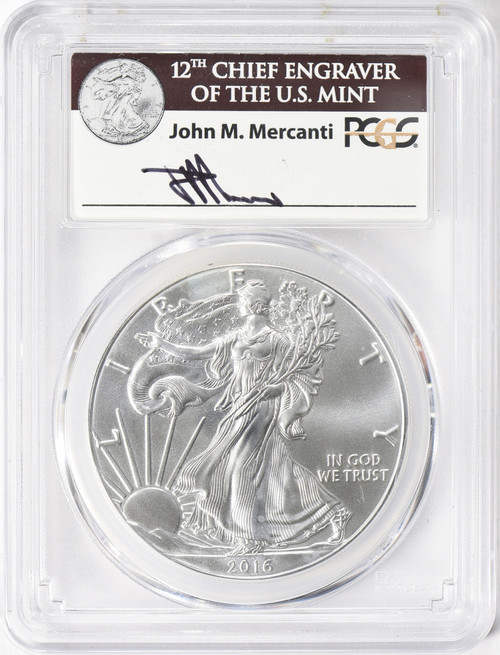 2016-W $1 Silver Eagle 30th Anniversary First Strike PCGS MS70 Mercanti Signed