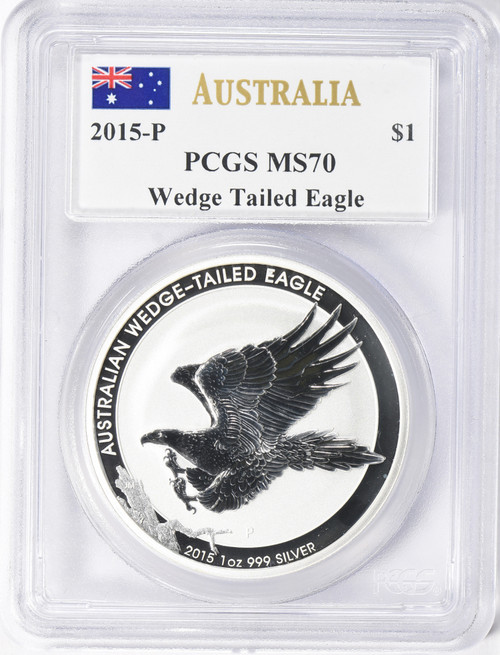 2015-P $1 Australia Silver Dollar Wedge Tail Eagle PCGS MS70 Mercanti Signed