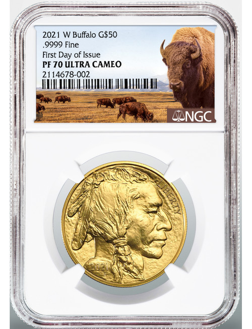 2021-W $50 Proof Gold Buffalo First Day of Issue Bison Label NGC PF70 Ultra Cameo