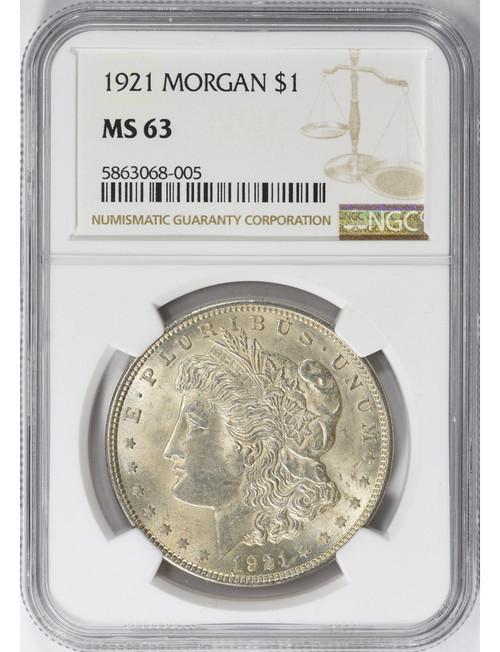 1921 $1 Morgan Silver Dollar NGC MS63