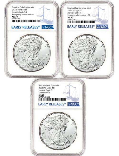 2021-(P/S/W) 3-Coin Set American Silver Eagle T-1 Early Releases NGC MS70