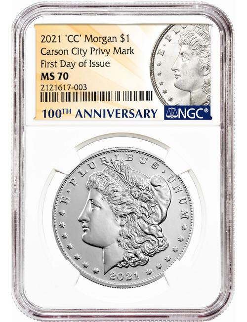 2021-CC $1 Morgan Dollar Carson City Privy Mark FDI NGC MS70