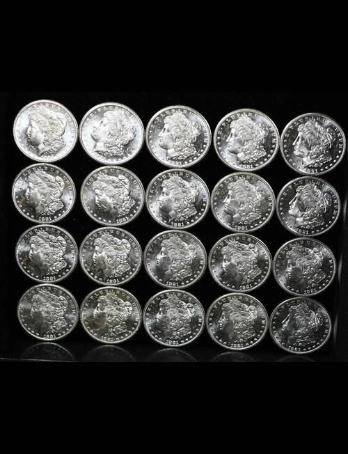 1881-SS$1Morgan Silver Dollar Original Roll 20 Coins