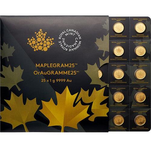 2021 25 Gram Canadian Gold MapleGram - 25x1g w/ Assay