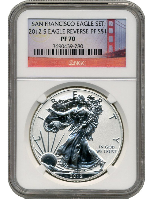 2012-S Reverse Proof Silver Eagle NGC PF70 SF Bridge Label