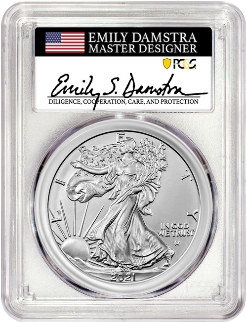 2021 T-2 American Silver Eagle PCGS MS70 Emily Damstra Signed