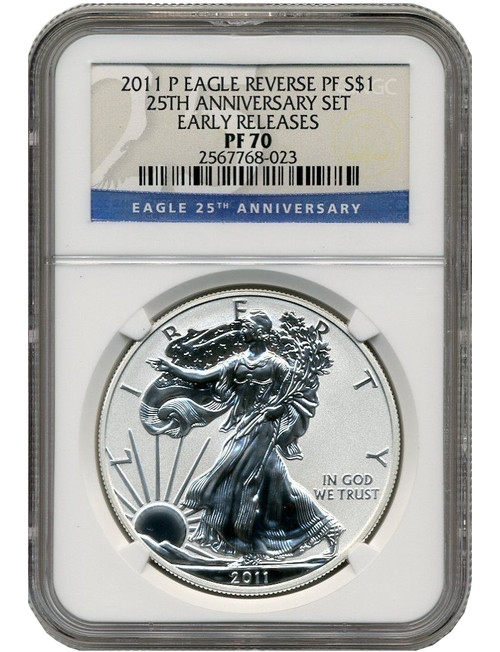 2011-P Reverse Proof Silver Eagle 25th Anniversary ER NGC PF70
