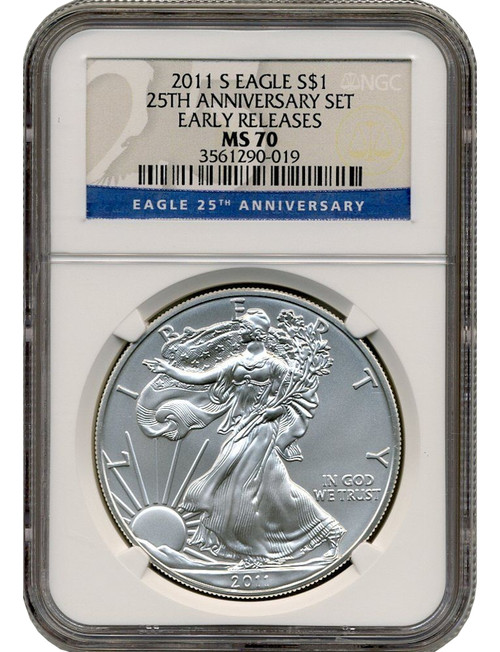 2011-S Burnished Silver Eagle 25th Anniversary ER NGC MS70