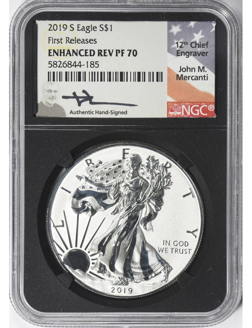 2019-S Enhanced Reverse Proof Silver Eagle First Releases NGC PF70 Mercanti Signed