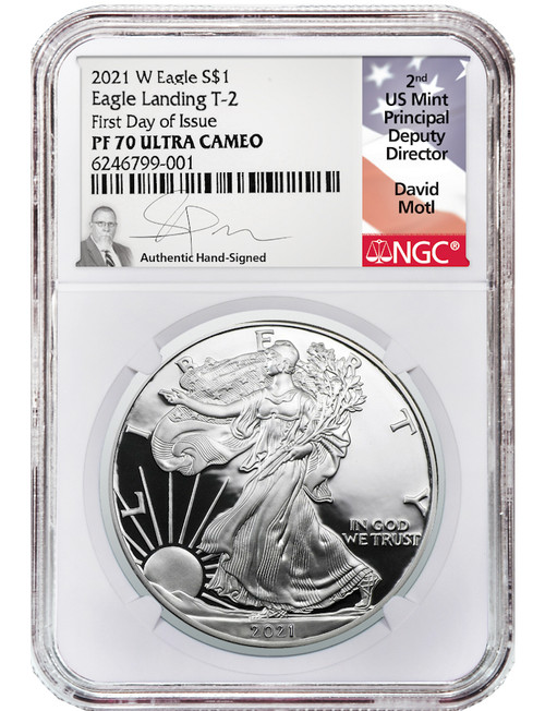 2021-W Type 2 Silver Eagle FDI NGC PF70 Ultra Cameo David Motl Signed