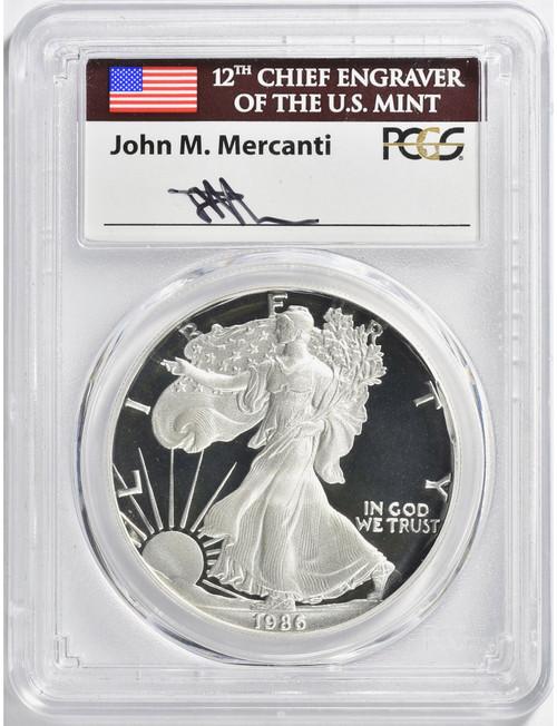 1986-S $1 Proof Silver Eagle PCGS PR70DCAM John Mercanti Signed