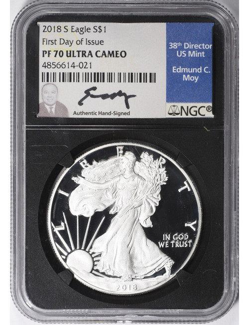 2018-W American Silver Eagle NGC PF70  First Day of Issue Ultra Cameo Moy Signed