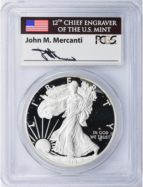 2014-W $1 Proof Silver Eagle PCGS PR70DCAM John Mercanti Signed