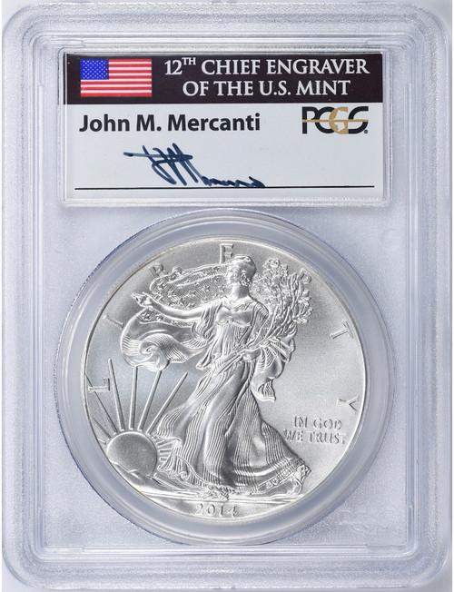 2014 $1 Proof Silver Eagle PCGS MS70 John Mercanti Signed