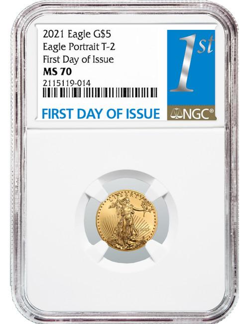 2021 1/10 Oz Gold American Eagle Type 2 FDOI NGC MS70