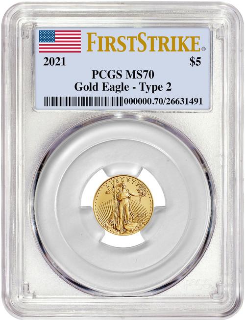 2021 1/10 Oz Gold American Eagle Type 2 FS PCGS MS70