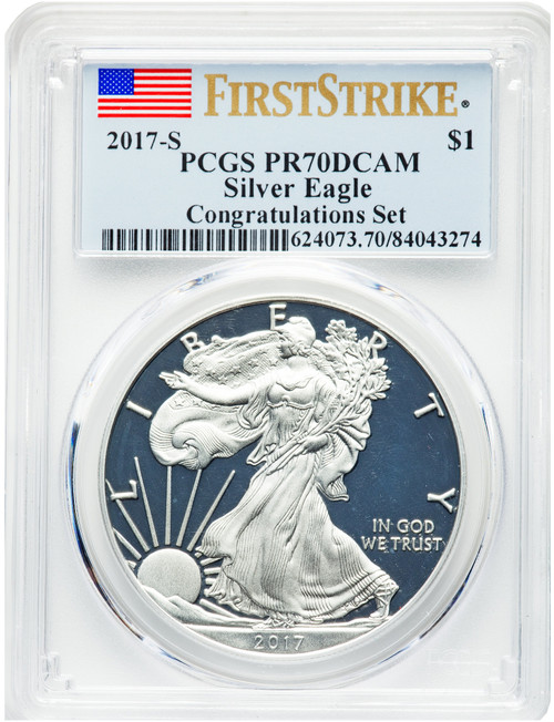 2017-S$1SilverEagle Congratulations Set First StrikePCGS PR70DCAM