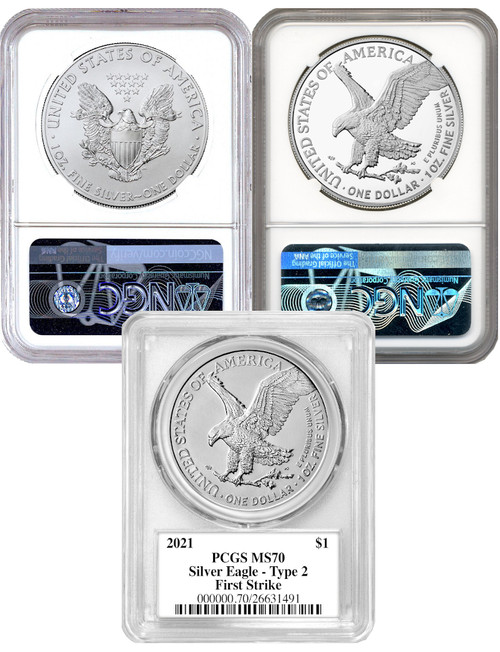 2021 T-1 & T-2 Silver Eagle 3 Coin Set Damstra Gaudioso Motl Signed MS70