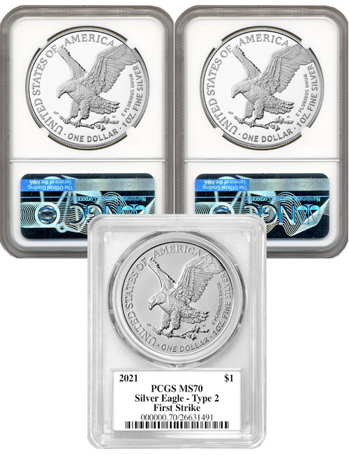 2021 T-2  3 Coin Silver Eagle Set Damstra Gaudioso Mercanti Signed MS70