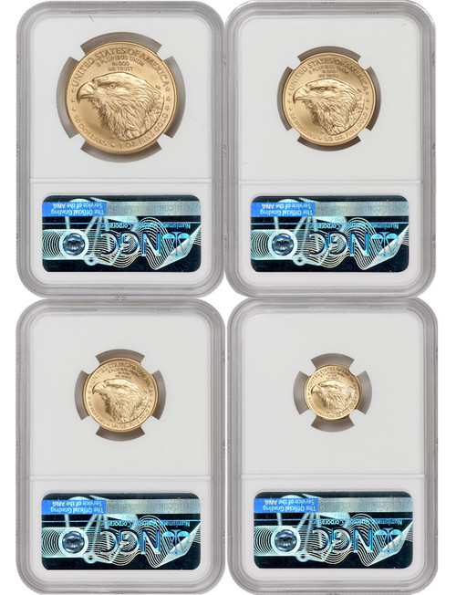 2021-W Gold Eagle 4-Coin Set Eagle Portrait T-2 Early Releases NGC PF70UCAM