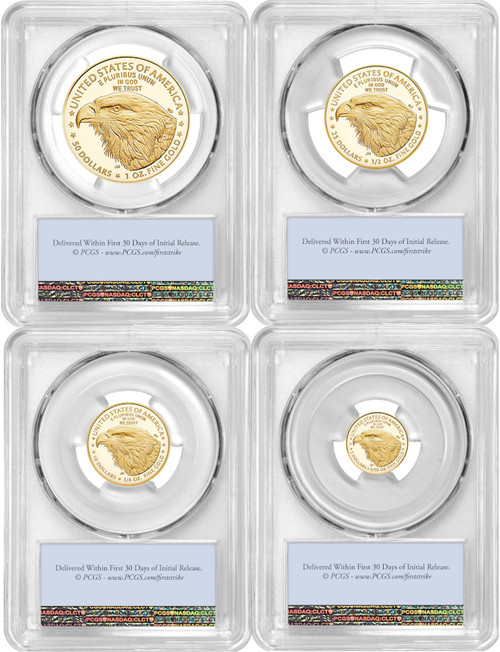 2021-W Gold Eagle 4-Coin Set Type 2 First Strike PCGS PR70DCAM