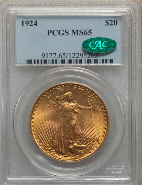 1924$20 Saint-Gaudens Double Eagle PCGS MS65 CAC