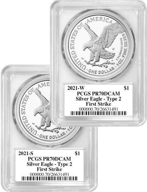 2021-S 2021-W Type 2 Silver Eagle 2-Coin Set PCGS PR70DCAM Emily Damstra Signed