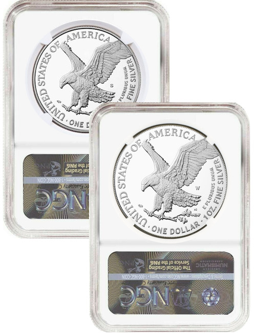 2021-S 2021-W Type 2 Silver Eagle 2-Coin Set NGC PF70UCAM Michael Gaudioso Signed