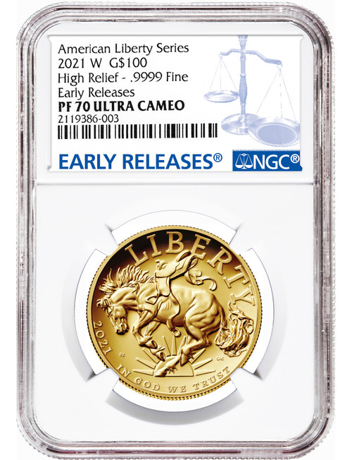 2021 W G$100 American Liberty Series High Relief .9999 Fine Early Releases NGC PF70 Ultra Cameo