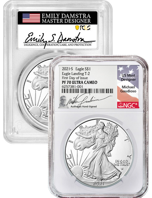 2021-S T-2 American Silver Eagle 2-Coin 70 Set Damstra Gaudioso Signed