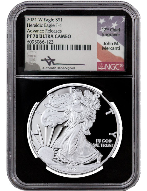 2021-W T-1 Silver Eagle Advanced Release NGC PF70 Ultra Cameo Mercanti Signed