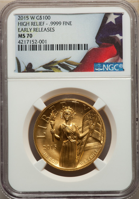 2015-W $100 High Relief First Strike Modern Bullion Coins NGC MS70