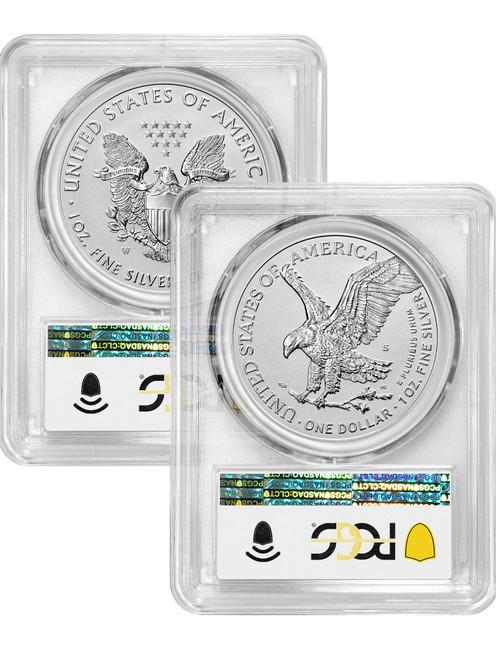 2021-S 2021-W Two-Coin Silver Eagle Set Reverse Proof Type 1 & 2 Designer Edition FDI PCGS PR70