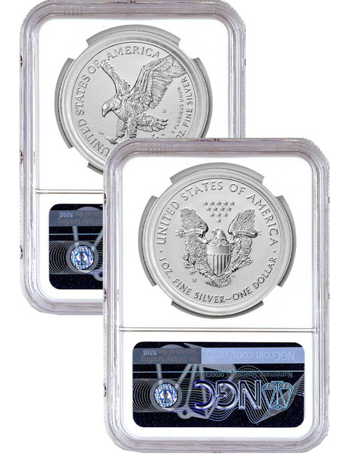 2021-S 2021-W Two-Coin Silver Eagle Set Reverse Proof Type 1 & 2 Designer Edition FDI NGC PF70