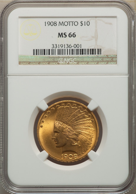 1908 $10 MOTTO Indian Eagle NGC MS66