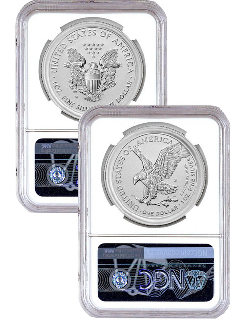 2021-S 2021-W Reverse Proof Two-Coin Silver Eagle Set T-1 & T-2 First Release NGC PF70 Mercanti Gaudioso Signed