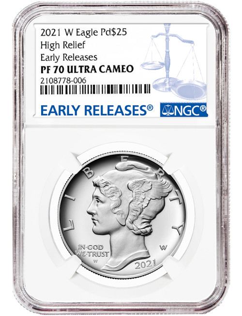 2021 W $25 Palladium Eagle High Relief Early Releases NGC PF70