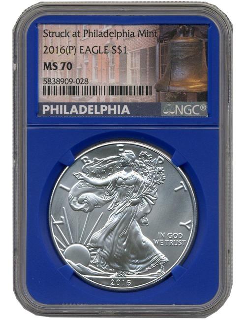 2016-P Silver Eagle Struck at Philadelphia NGC MS70 - Pop 693