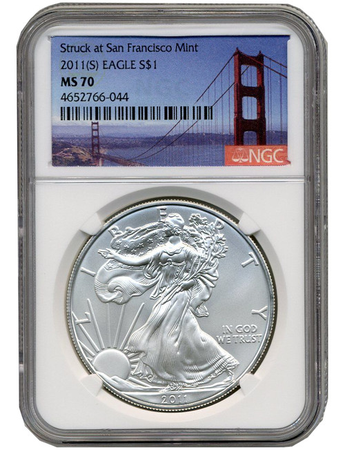 2011-S Silver Eagle Struck at San Francisco Mint NGC MS70